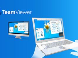 laptop en computer verbonden met team viewer