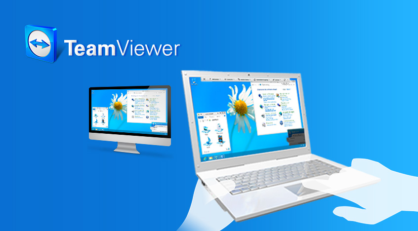 laptop en computer verbonden met team viewer